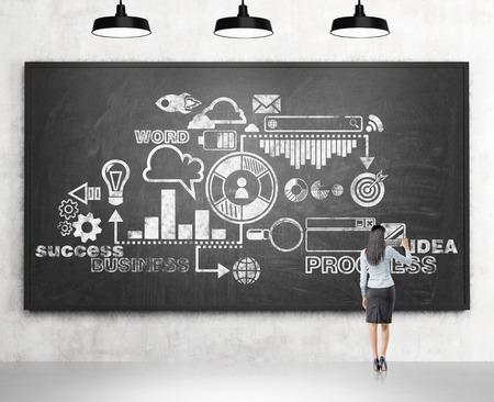 Eine Frau, die eine Business-Plan auf die Tafel zeichnen, vier Lampen über sie. Rückansicht. Konkreter Hintergrund. Konzept der Führung eines Unternehmens entwickelnde. Standard-Bild