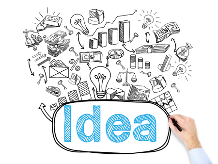 flexible business: A hand drawing many business icons and writing the word idea on white background. Concept of a new idea. Stock Photo
