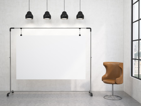 clean up: A portable blank white board in the corner of the room, window with a city view to the right, brown chair to the right, four black lamps above. Concept of demonstration. 3D rendering Stock Photo