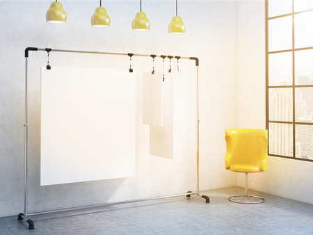 clipped: A portable rack for paper in the corner of the room, paper sheets clipped to it, window with a city view to the right, yellow chair to the right, four yellow lamps above. Concept of demonstration. 3D rendering Stock Photo