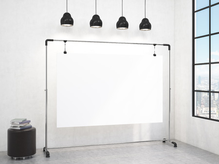 pouffe: A portable blank white board in the corner of the room, window with a city view to the right, brown pouffe to the left, four black lamps above. Concept of demonstration. 3D rendering Stock Photo