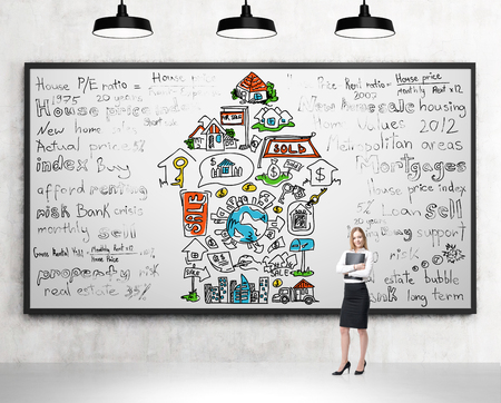 spending money: Woman with a folder standing in front of a poster with different words written and icons depicting opportunities provided by money arranged in an arrow. Concrete background. Concept of spending money Stock Photo