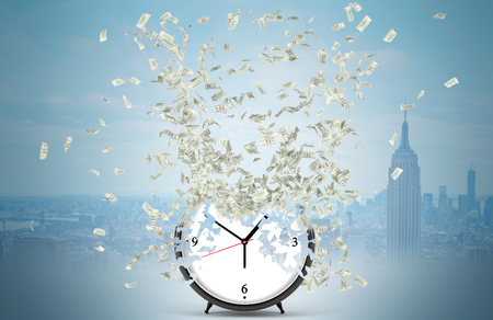 coping: Dollar banknotes flying from the centre of a big alarm clock as if it consisted of money. New York at the background. Concept time is money. 3D rendering