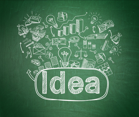 numerous: The word business and numerous business symbols drawn on a green blackboard. Green background. Concept of having a new idea. 3D rendering. Stock Photo