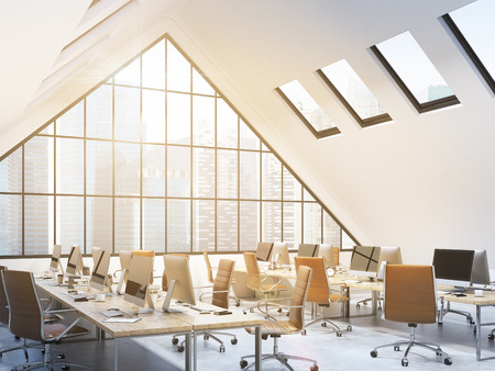 roof windows: Four rows of tables with computers and stuff in an office in the attic, brown chairs. ? big triangle window at the front, roof windows above. NYC view. Filter. Concept of a modern office. 3D rendering Stock Photo