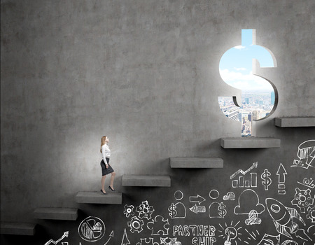 steadily: A businesswoman going upstairs steadily, a hole in the wall in the shape of a dollar, light shining from it, blue sky and city view. Business icons below th steps. Dark background. Concept of career growth.