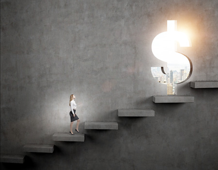 steadily: A businesswoman going upstairs steadily, a hole in the wall in the shape of a dollar, light shining from it, city view. Dark concrete background. Concept of career growth. Stock Photo