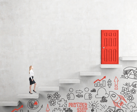steadily: A young businesswoman going upstairs steadily, a red closed door in the wall at the top, business icons below the steps. White background. Concept of career growth.