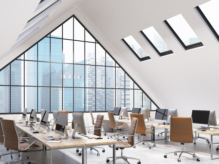 small roof: Four rows of tables in an office in the attic. Computers and stuff on them, brown chairs. A big triangle window at the front, small roof windows above. NYC view. Concept of a modern office. 3D rendering