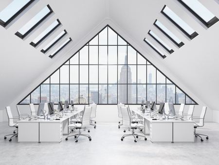 small roof: Four rows of tables in an office in the attic. Computers and stuff on them, white chairs. A big triangle window at the front, small roof windows above. NYC view. Concept of a modern office. 3D rendering
