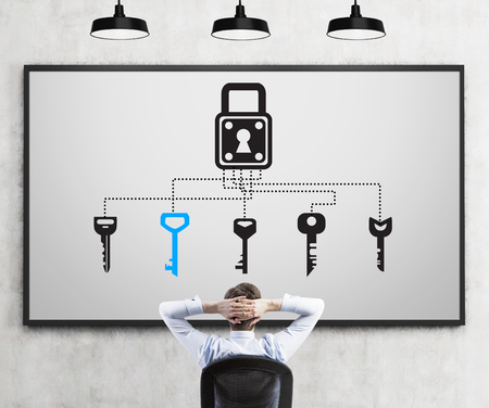smart goals: A  man sitting in chair with a hands on the back of his head thinking about a problem, different keys and a lock drawn on a poster in front. Concrete background. Back view. Concept of finding a solution. Stock Photo