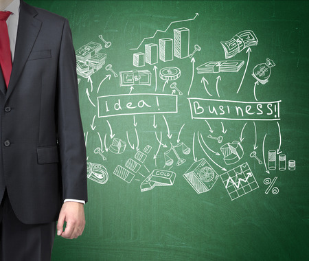 starting a business: A businessman standing at a green blackboard with words idea and business written on it, many business icons around. Front view, half body seen. Concept of starting a business.