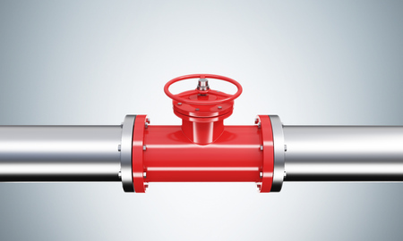 A red tap in a horizontal metal pipe. Grey background. Close up. Concept of pipeline. 3D rendering.