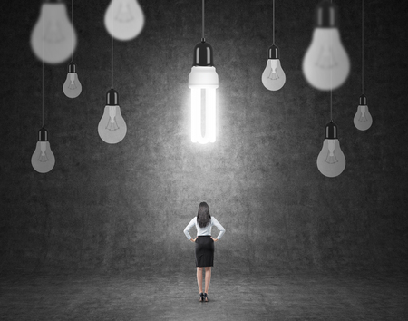 energysaving: A woman with hands on hips standing in front of a black wall, many different bulbs hovering from above, the energy-saving bulb shining brightly. Back view. Concept of having an idea.