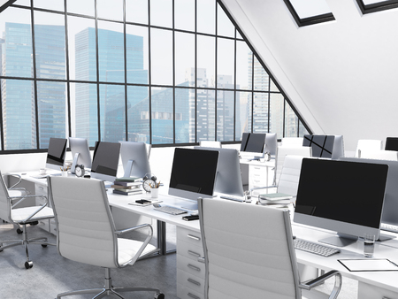 attic window: Rows of tables facing each other leading to the panoramic window in an office in an attic. Computers and stuff on them, white chairs. Singapore view. Concept of a modern office. 3D rendering Stock Photo