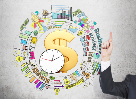 career timing: A big golden dollar sign and clock in the center, different coloured graphs and pictures drawn around it, business, success, strategy written, an index finger raised up. Concept of doing business Stock Photo