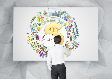 success man: A big golden dollar sign and clock in the center, a man drawing different coloured graphs and pictures around it, business, success, strategy written around. Back view. Concept of doing business