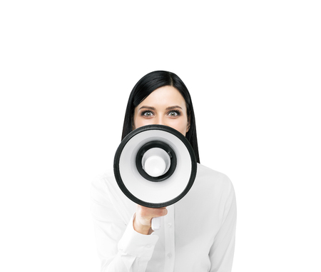 informing: Beautiful woman with white loudspeaker. Front view. Isolated. Concept of informing.