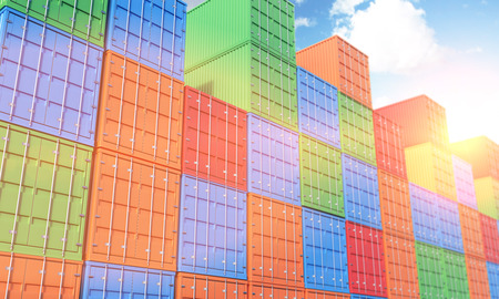 differnt: Many sea containers of differnt colours stocked. Blue sky above. Filter, tonned. Concept of shipping. 3D rendering