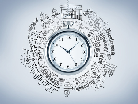 career timing: A pocket watch, different graphs and pictures drawn around it, business, success, strategy written around. Top view. Concept of timing. 3D rendering