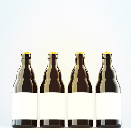 liter: beer bottles with blank labels. Dark glass. Grey background. Concept of producing beer. 3D rendering