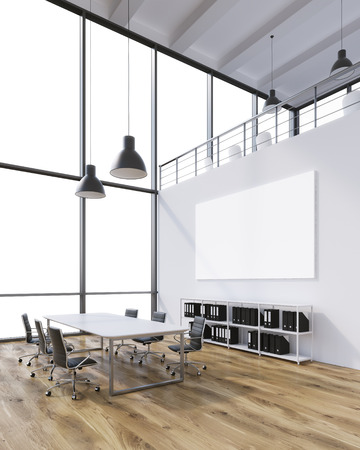 Meeting room for six, blank poster on wall, lamps above. Panoramic window. Loft. Side view. Concept of meeting. 3D rendering