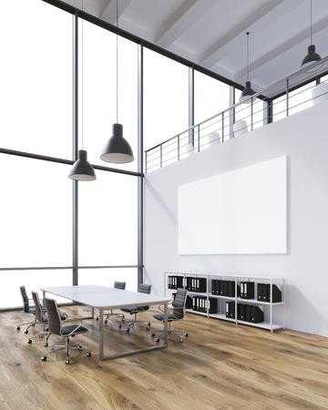 Vergaderruimte voor zes, lege poster aan de muur, lampen boven. Panoramisch raam. Zolder. Zijaanzicht. Concept van de vergadering. 3D-rendering