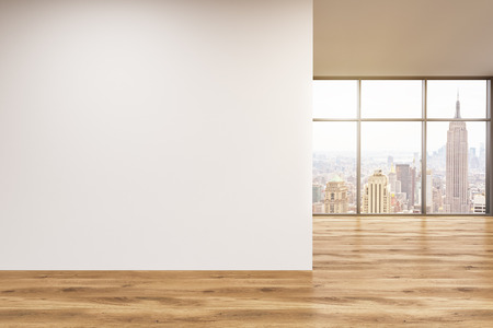 Empty office, wooden wall with white poster in front of panoramic window, New York. Concept of new office. 3D rendering Stok Fotoğraf - 53460821