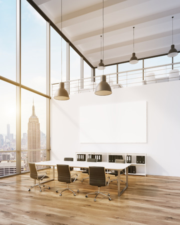 Meeting room for six, blank poster on wall. Panoramic window, New York view. Loft. Filter, toned. Concept of meeting. 3D rendering
