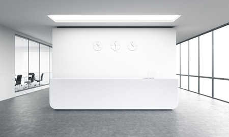 office window view: Empty office, white reception at white wall, three clocks on it. Panoramic window right, meeting room left. Concept of reception. 3D rendering