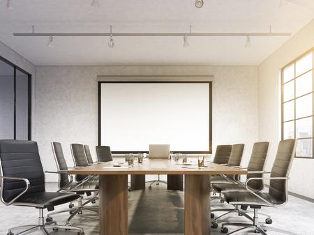 Grande salle de réunion, affiche vierge sur le mur blanc derrière la table. Concept de négociations. Filtre, tonique. Vue de face. rendu 3D