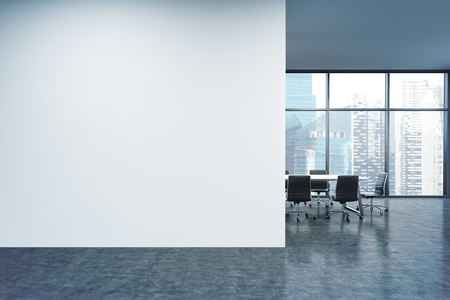 Empty office, white wall in front of panoramic window, Singapore view, table for meetings. Concept of new office. 3D rendering