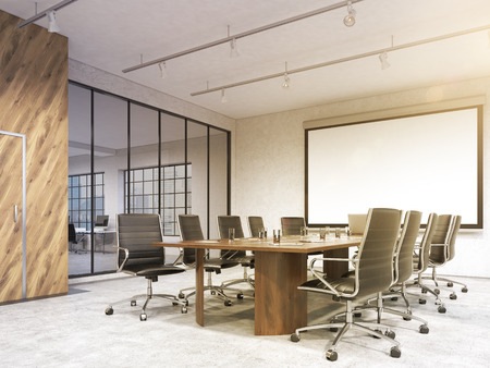 Big meeting room, blank poster on white wall behind table. Concept of negotiations. Filter, toned. 3D rendering