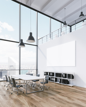 Meeting room for six, blank poster on wall. Panoramic window, city view. Loft. Concept of meeting. 3D rendering