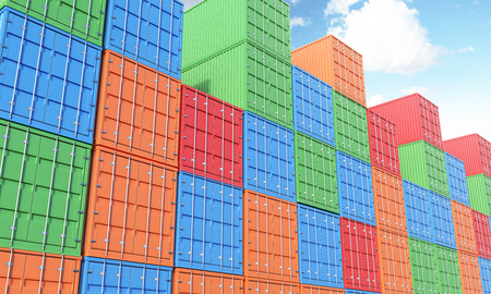 differnt: Many sea containers of differnt colours stocked. Blue sky above. Concept of shipping. 3D rendering