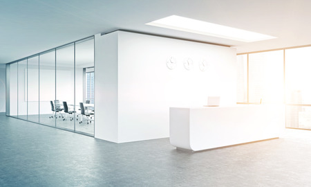 Empty office, white reception at white wall, three clocks on it. Panoramic window right, meeting room behind. Filter, toned. Concept of reception. 3D rendering