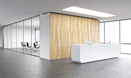 Empty office, white reception at wooden wall. Panoramic window right, meeting room behind. Concept of reception. 3D rendering