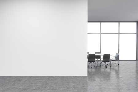 office window view: Empty office, white wall in front of panoramic window, table for meetings. Concept of new office. 3D rendering Stock Photo