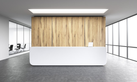 office window view: Empty office, white reception at wooden wall. Panoramic window right, meeting room left. Concept of reception. 3D rendering