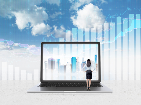 businesswoman standing: Businesswoman standing in front of huge laptop screen with image of New York. Blue sky and graphs at background. Back view. Concept of expectations.