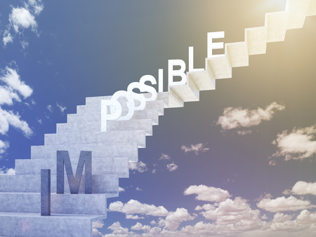 possibility: Ladder to sky, possible on steps, im down. Blue sky at background. Concept of possibility. 3D rendering