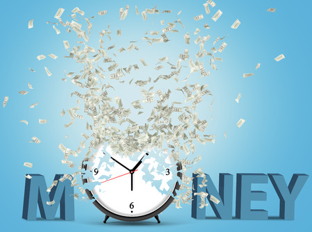 career timing: Alarm clock, dollars flying out from it. Blue background. Concept of time is money. 3D rendering