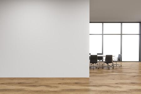빈 사무실, 파노라마 창, 회의, 나무 벽 앞에 테이블의 앞에 흰 벽. 새로운 사무실의 개념입니다. 3D 렌더링 스톡 콘텐츠