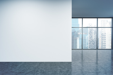 Empty office, white wall in front of panoramic window, Singapore view. Concept of new office. 3D rendering 免版税图像