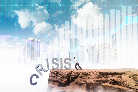 coping: Businessman pushing letters of word crisis from rock. New York, graph and sky at background. Concept of coping with crisis. Stock Photo