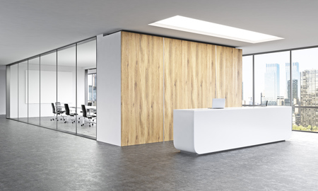 Empty office, white reception at wooden wall. Panoramic window right, meeting room behind. New York. Concept of reception. 3D rendering