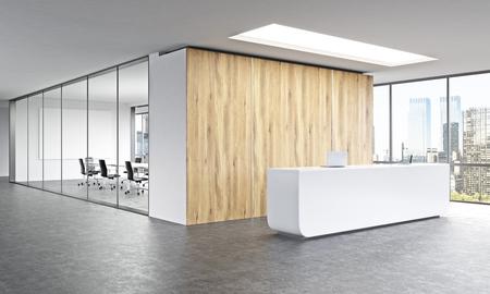 Vaciar la oficina, recepción blanca en la pared de madera. derecho de la ventana panorámica, sala de reuniones atrás. Nueva York. Concepto de recepción. representación 3D