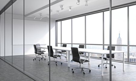 blank space: Empty meeting room in office. Corridor view, New York. Concept of business meeting. Grey. Mock up. 3D render.