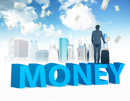 career timing: Businessman with suitcase standing on money, New York and blue sky at background. Concept of money.
