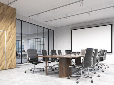 Gran sala de reuniones, el cartel en blanco en la pared blanca detrás de la mesa. Concepto de las negociaciones. representación 3D